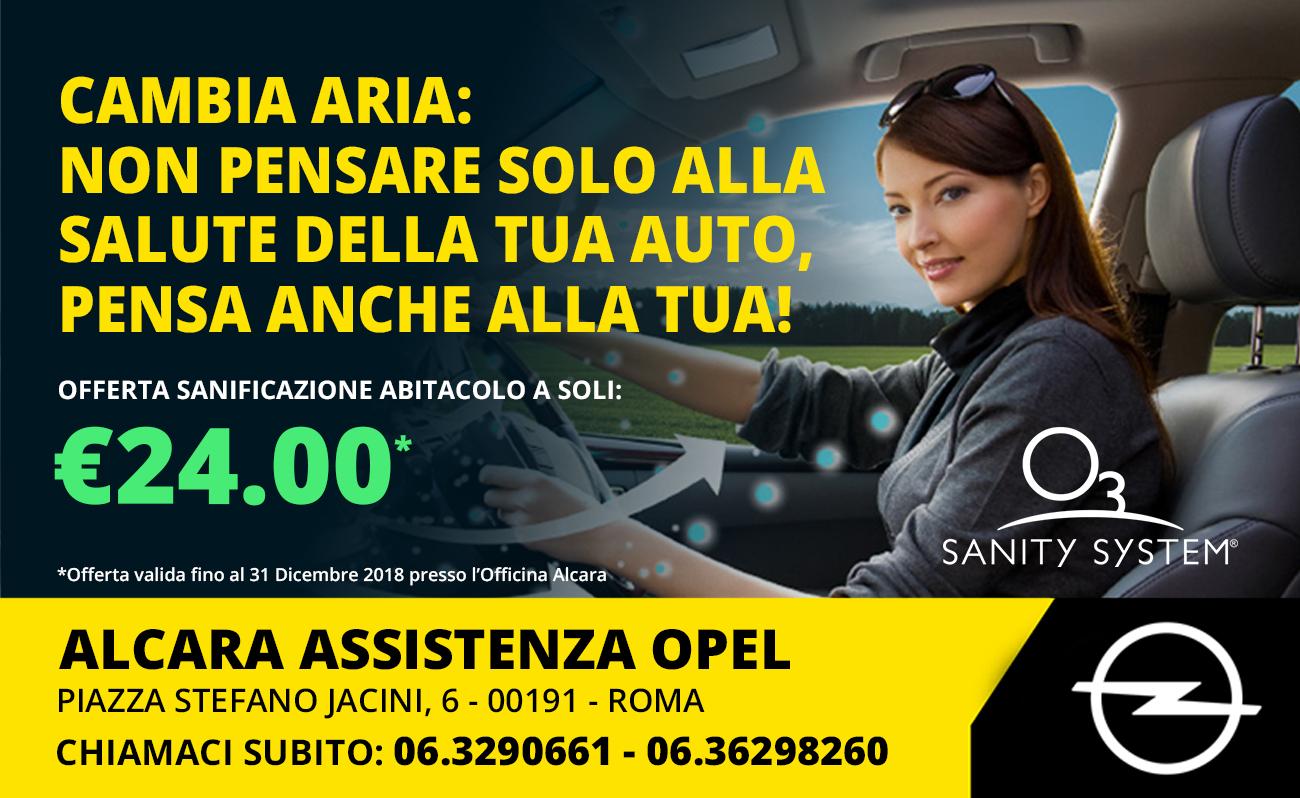 offerta sanificazione abitacolo auto fino al 31 dicembre 2018 alcara assistenza opel roma nord